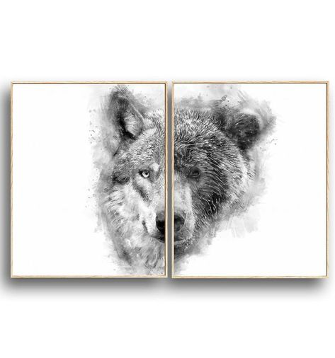 Abstract Wolf And Bear Set Of 2 Black And White
