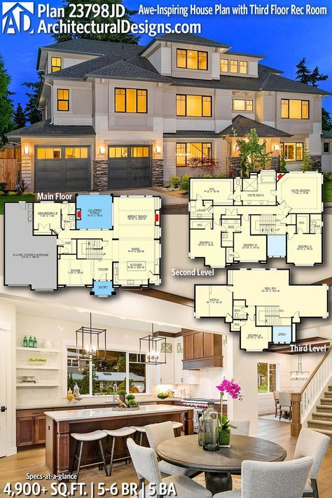 Architectural Designs Home Plan 23798jd Gives You 5 6 Bedrooms 5 Baths And 4 900 Sq Ft Ready When You Are House Plans Modern House Plans House Blueprints
