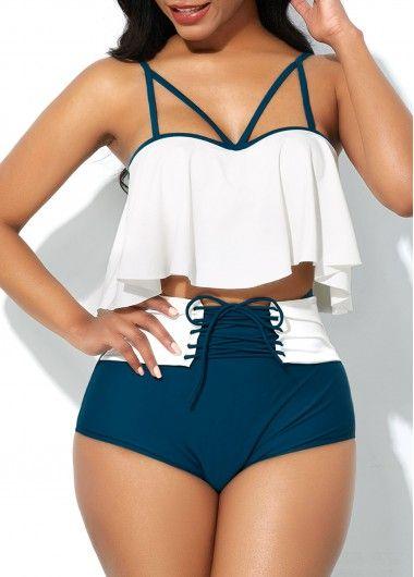 Lace Up Spaghetti Strap Bikini Set - Swimwear swimsuits - Badeanzug