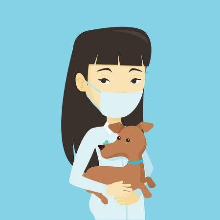 Medico Veterinario Asiatico Joven Que Sostiene El Perro Medico Veterinario En Mascara Medica Llevando Un Perro Perro De Examen Medico Veterinario Concepto De Veterinaria Perros Mascotas