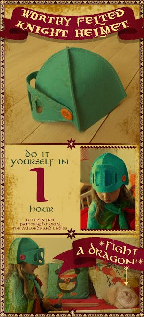 Worthy felted knight helmet for milords and ladies.- Worthy felted knight helmet for milords and ladies. Worthy felted knight helmet for milords and ladies. Diy Knight Costume, Knight Costume For Kids, Diy Craft Projects, Projects For Kids, Sewing Projects, Sewing Ideas, Sewing Crafts, Felt Diy, Felt Crafts