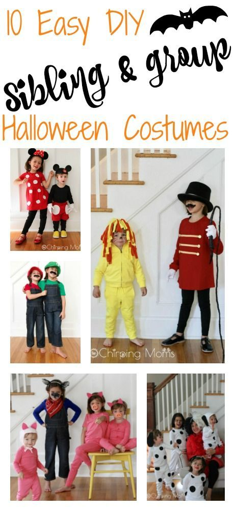 Easy Diy Group Costumes 10 Cute Diy Costumes For Siblings Friends Sibling Costume Diy Costumes Kids Mom Costumes