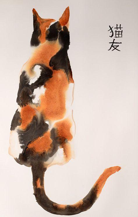 Beau chat calico - original encre et aquarelle technique mixte