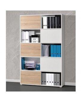 Armoire De Bureau Design En Lamine Blanc Et Bois Avec 5 Etageres Armoire Bureau Meuble Rangement Bureau Bureau Design