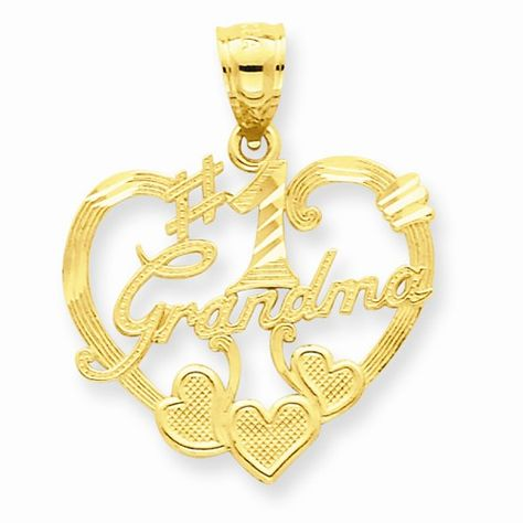 14k Yellow Rose #1 Grandma Pendant Charm Necklace Special Person Grma Fine