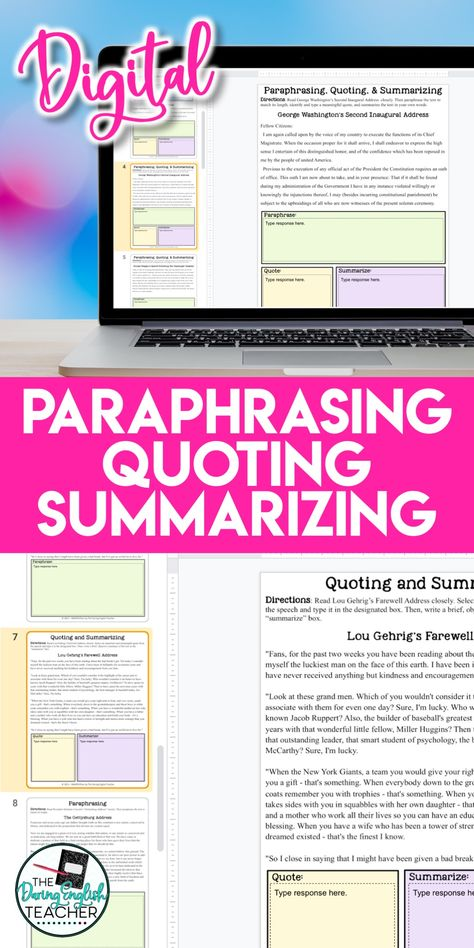 Digital Paraphrasing Quoting Summarizing Unit Distance Learning Smarteplan High School Writing Teaching How To Paraphrase And Cite A Website