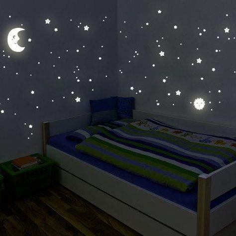 Wandtattoo Sonne Mond Sterne Leuchtent Im Dunkeln