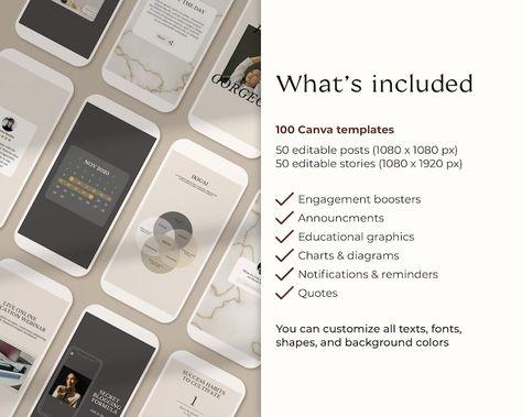 100 Instagram Post Templates. Instagram Template. Blog Branding Kit For Coaches. Canva Template. Social Media Feed. Lead Magnet & Online.