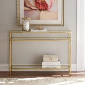 Home Decorators Collection Bella Aged Gold Narrow Glass Console Table 9966800910 Console Table Decorating White Console Table Console Table Styling