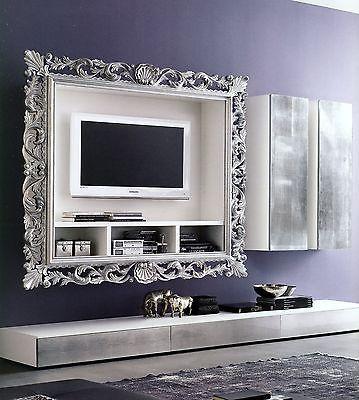 Pareti Attrezzate Con Cornice.Dettagli Su Porta Tv Vogue Cornice Legno Foglia Oro Argento
