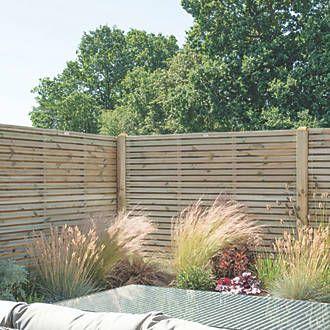 Forest Venhhm6pk4hd Double Slatted Fence Panel 6 X 6 Pack Of 4 In 2020 Slatted Fence Panels Garden Fence Panels Fence Panels