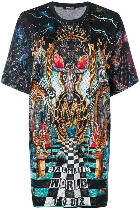 Balmain World Tour Printed T Shirt Custom Clothes Balmain Cool Outfits