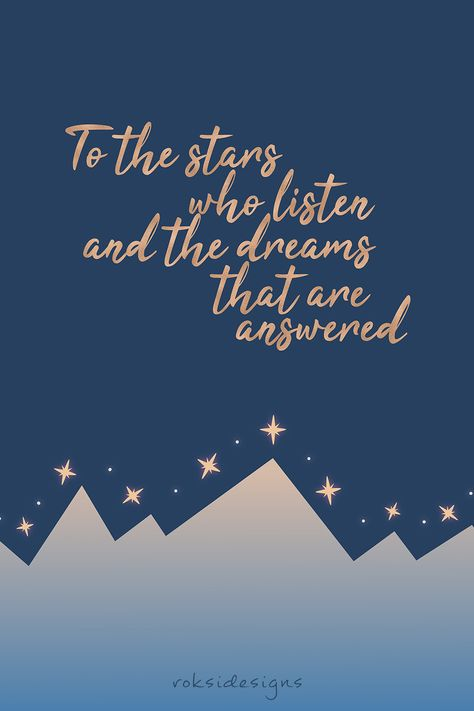 poster, a court of thorns and roses, a court of mist and fury, acomaf, feysand, feyre archeron, rhysand, quote, typography, glitter, blue, gold, mountains, stars, fantasy, young adult, bookworm, bookish, bookstagram, book lover, illustration, vector art