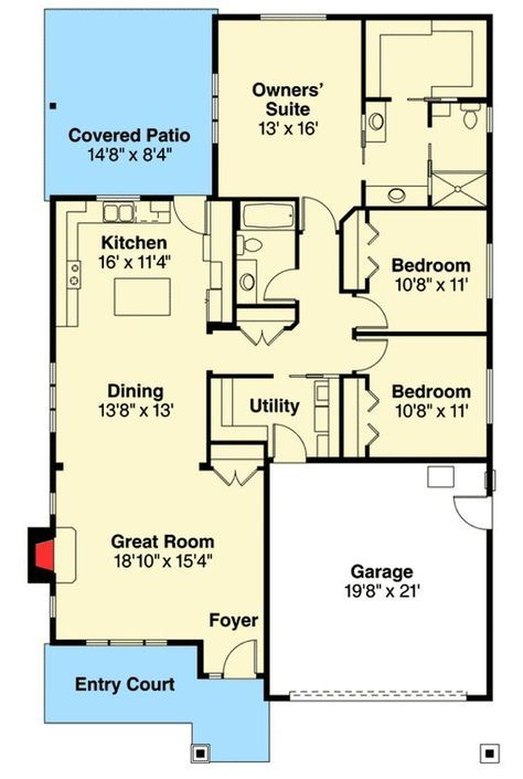 Plan 72786da Free Flowing 3 Bed House Plan Narrow Lot House Plans House Plans Cottage House Plans