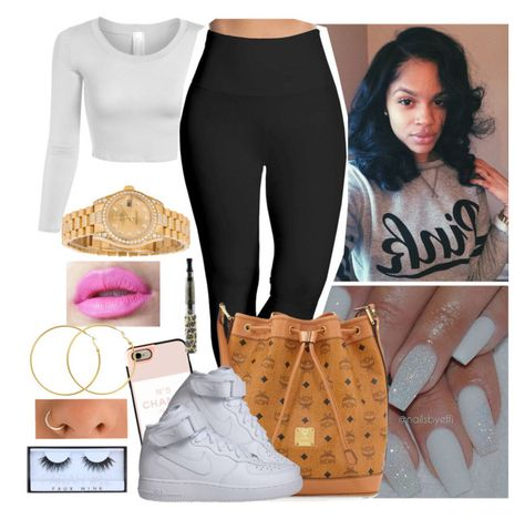 """"""""""" by saucinonyou999 ❤ liked on Polyvore featuring Lyssé Leggings, MCM, Casetify, NIKE, Rolex, Melissa Odabash and Huda Beauty"""