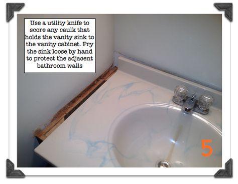 Score Caulk That Holds The Vanity Sink To The Vanity Cabinet Small Bathroom Vanities Vanity Sink Small Bathroom