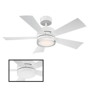Modern Forms Wynd 42 In Led Indoor Outdoor Matte White 5 Blade Smart Ceiling Fan With 3000k Light Kit And Wall Control Fr W1801 42l Mw The Home Depot Ceiling Fan Modern Forms Ceiling Fan With