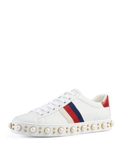 dbc72520a3b GUCCI New Ace Pierced Heart Sneaker