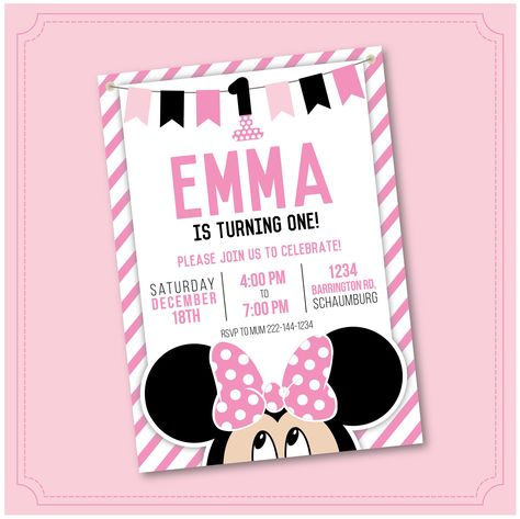 Minnie Mouse Birthday Party Invitation Hot Pink Red