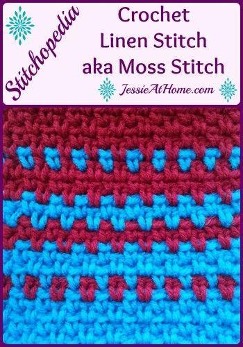 Stitchopedia~Crochet Linen Stitch aka Moss Stitch by Jessie At Home