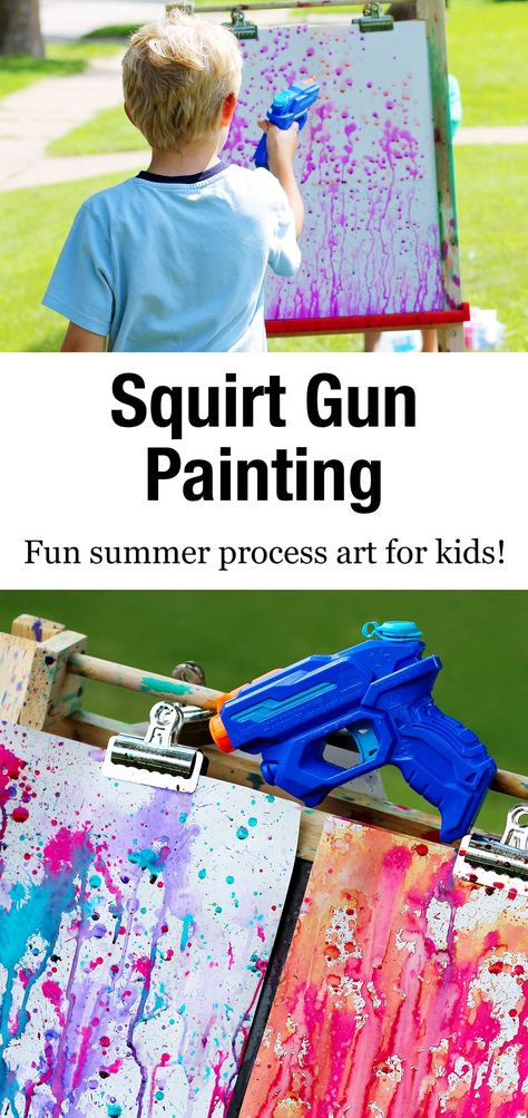 Bust summer boredom at home, school, or camp with Squirt Gun Painting, an amazing art experience for kids of all ages. via holiday activities for boys Thrill Your Kids with Colorful Squirt Gun Painting Summer Crafts For Kids, Summer Diy, Projects For Kids, Art For Kids, Summer Ideas Kids, Summer Crafts For Preschoolers, Preschool Summer Crafts, Painting Ideas For Kids, At Home Crafts For Kids