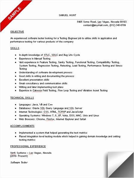 Qa Tester Resume With 5 Years Experience Luxury Sample Resume Format For 2 Years Experience In Testing In 2020 Sample Resume Format Download Resume Sample Resume