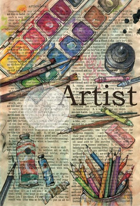 Print of Original, Mixed Media Drawing on Distressed, Dictionary Page  This print now comes in two sizes - small - 6 x 9 or large 12 x 18  This drawing of art supplies is drawn in sepia ink and created with ink, watercolor, pastel and colored pencils on a distressed parchment that
