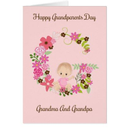 Grandparents Day Card From Baby Girl Zazzle Com Grandparents Day Cards Happy Grandparents Day Baby Girl Gifts