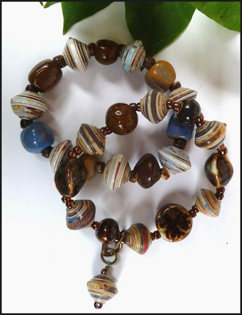 2 Beaded Bracelets - Handcrafted Jewelry - Glazed Clay Beads - Rolled Paper Beads - Brown -Blue - Handcrafted in Haiti by CaribbeanBoutique, $25.95