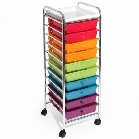 10 Drawer Organizer Cart W Wheels Pearl Multi Color By Seville Classics Walmart Com Organization Cart Craft Room Storage Drawer Organisers