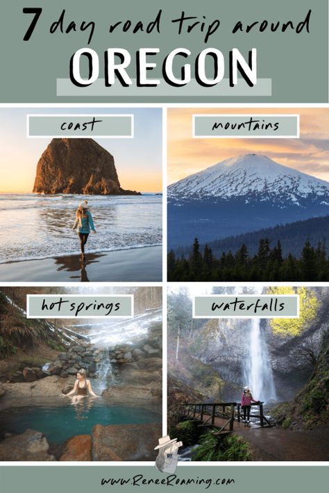 Take an incredible Oregon 7 day road trip to see the state's most scenic mountains coast lakes and waterfalls! Also included is a handy packing guide my top Oregon road trip tips leave no trace suggestions and more! Oregon Coast Roadtrip, Oregon Road Trip, West Coast Road Trip, Oregon Trail, Oregon Utah, Oregon Lakes, Crater Lake Oregon, Portland Oregon, Visit Oregon