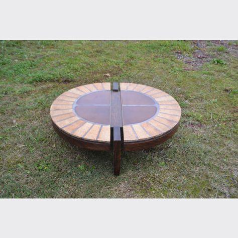 Table Basse Bois Et Ceramique Par Roger Capron Table Basse Bois