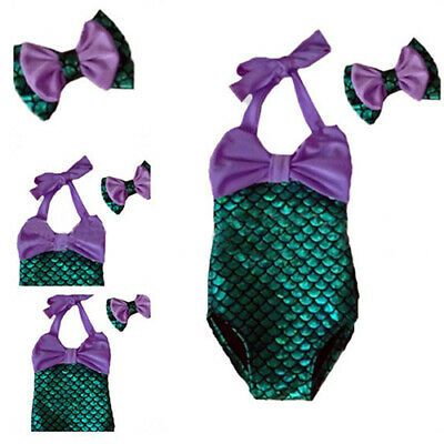 Kids Little Girls Halter Squama Mermaid Swimsuit One Piece Bahting Suit
