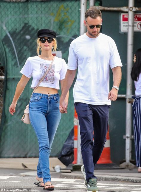 Lunch outing: Jennifer Lawrence is pictured in New York on Sunday with boyfriend Cooke Mar... #jenniferlawrence