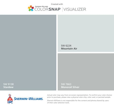 I found these colors with ColorSnap® Visualizer for iPhone by Sherwin-Williams: Stardew (SW 9138), Mountain Air (SW 6224), Monorail Silver (SW 7663). Kitchen, Family room,