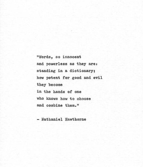 Nathaniel Hawthorne Hand Typed Art 'Words' Vintage Typewriter Print Gift For Writer American Author