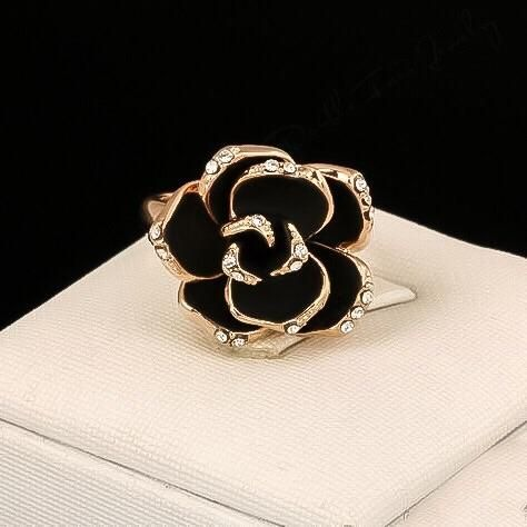 Camellia Flower Ring In Cream And Black Low Stock In 2020 Camellia Flower Flower Ring Rose Jewelry