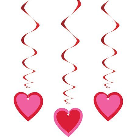 Hanging Hearts Valentine Decorations, 26in, 3ct