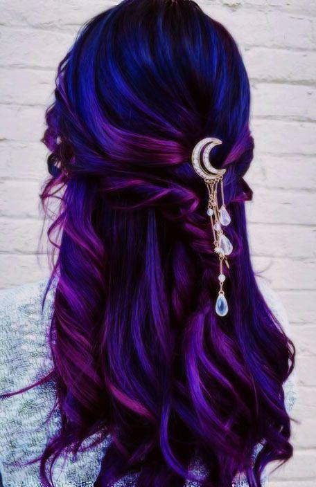 Cute Hair Colors, Hair Dye Colors, Ombre Hair Color, Cool Hair Color, Hair Colour, Hair Color Ideas, Bright Hair Colors, Blue Purple Hair, Blue Ombre
