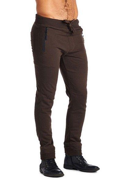 Mens Fashion 2 Zipper Joggers-Brown