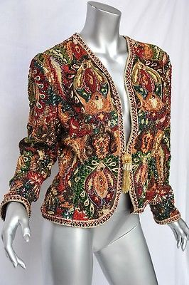 600de2ab773 OSCAR DE LA RENTA *FULLY ORNATELY BEADED* Jeweled Evening Jacket Blazer Coat  10