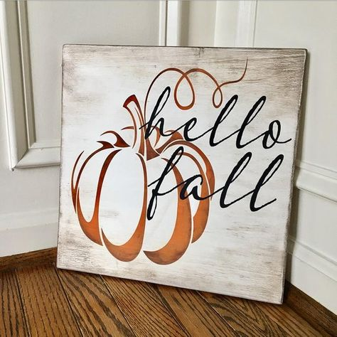 Items similar to Hello Fall Rustic Wooden Sign on Etsy This hand-painted wide by tall hello fall sign is custom made to order. Each sign is custom-designed, distressed, hand-painted, and stained. Since each piece of the sign and frame Fall Wood Signs, Fall Signs, Fall Pallet Signs, Fall Decor Signs, Halloween Wood Signs, Autumn Painting, Autumn Art, Fall Paintings, Wood Paintings