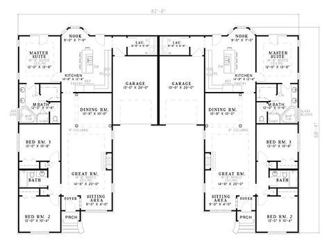 Plan 59323ND Beautifully Combined Duplex Duplex plans, House and - new blueprint design mulgrave