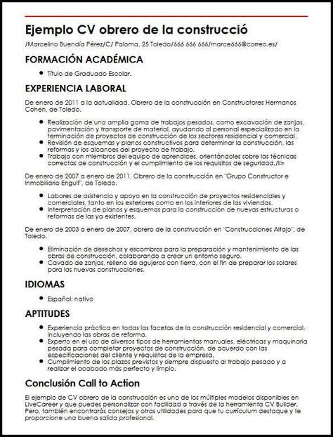 Ejemplo Cv Obrero De La Construccion Micvideal Modelos De