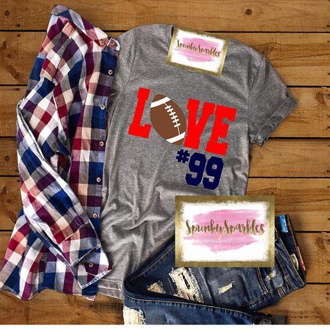 852178163 Love Football Shirt, Football Mom Shirt, Personalized Football Shirt,  Football, Women's Football Shi