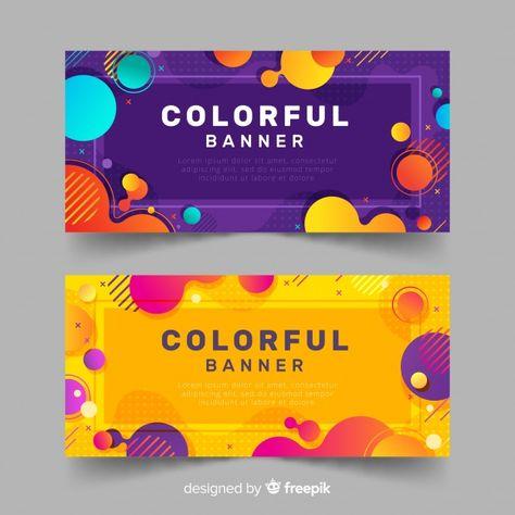 Carteles coloridos vector gratuito