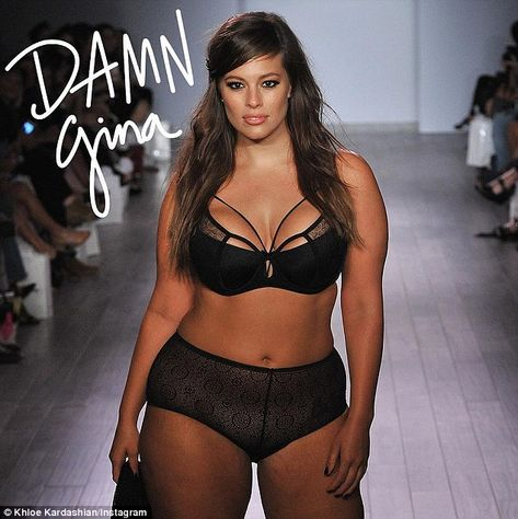 Keeping it real: Khloe Kardashian lavished praise on plus size model Ashley Graham on Wednesday, posting this photo of the model from her New York Fashion Week show and saying she is 'obsessed' with her figure