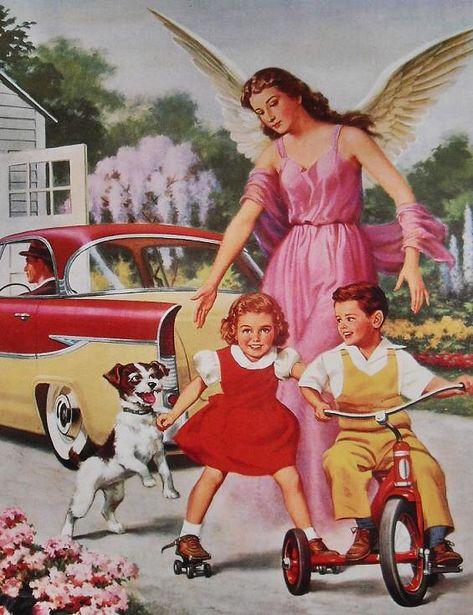 1950s VINTAGE POSTCARD Angel with Children On Bike and Dog…   Flickr