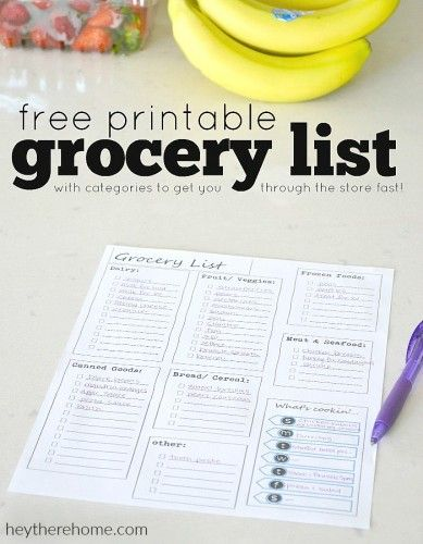 Free Printable Grocery List and Meal Planner Free printable - printable shopping list with categories
