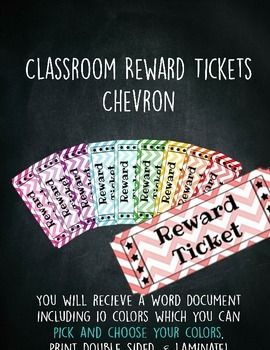Classroom Reward Tickets Behavior Management Raffle Tickets - Chevron